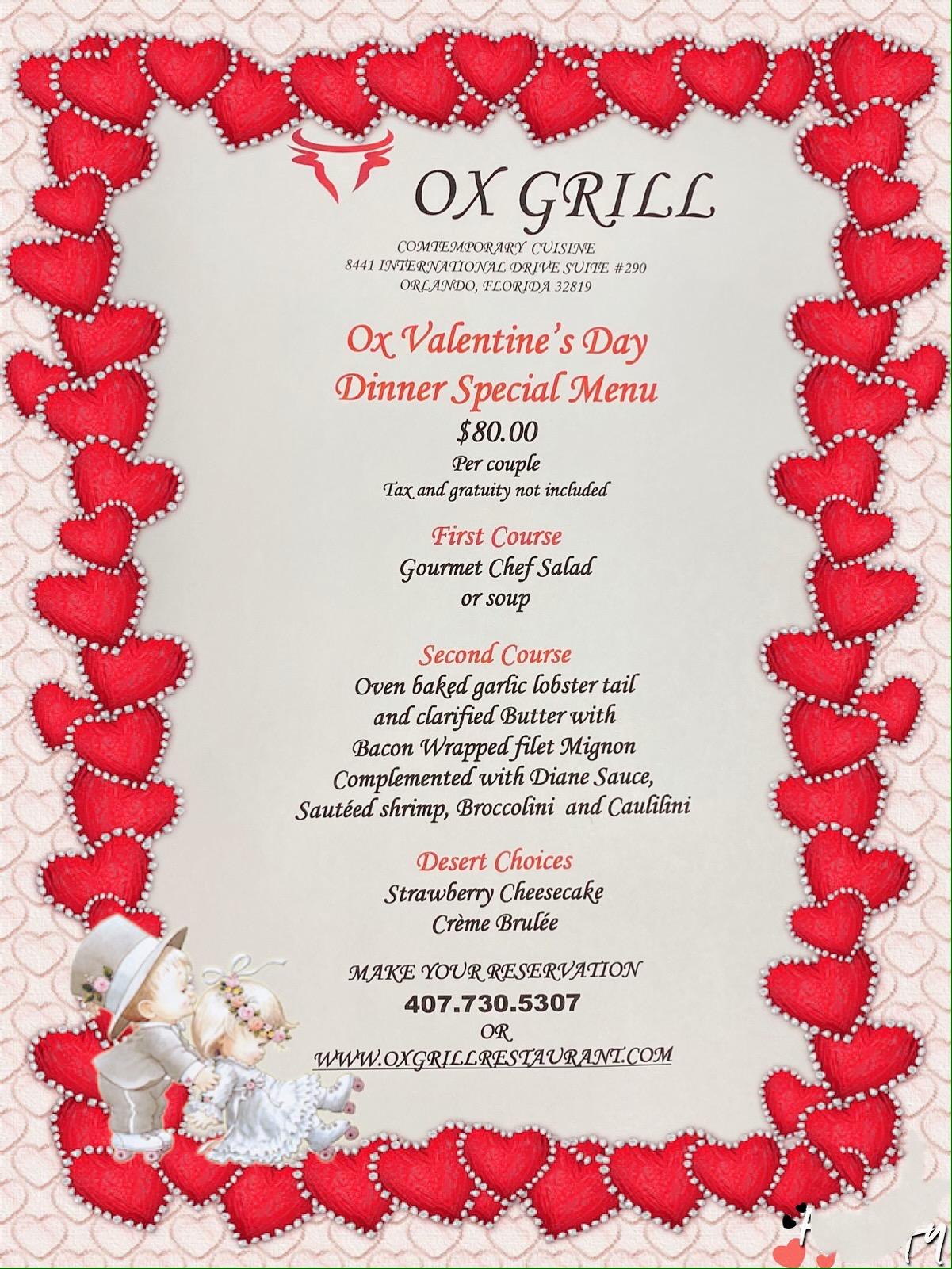 Ox Valentine's Day Dinner Menu
